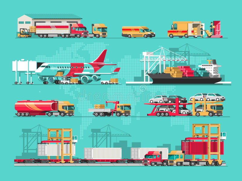Delivery service concept. Container cargo ship loading, truck loader, warehouse, plane, train. Flat style illustration. stock illustration