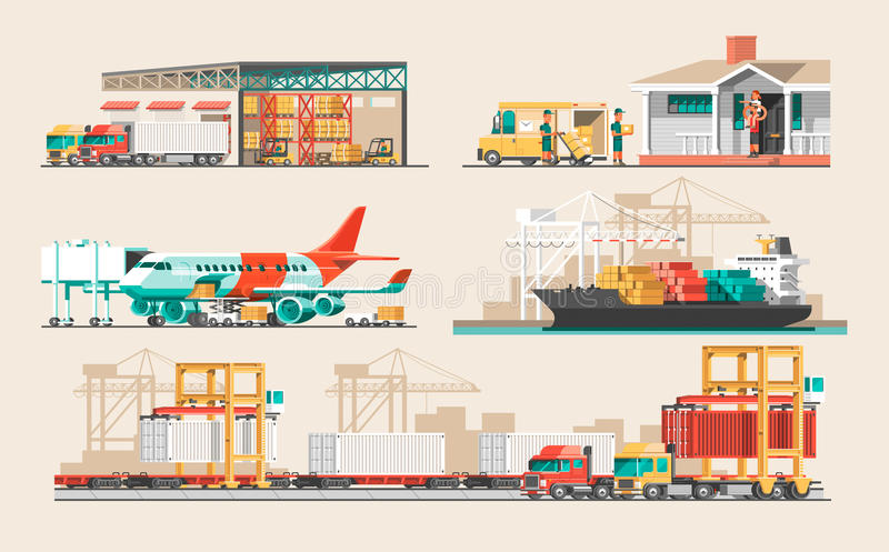 Delivery service concept. Container cargo ship loading, truck loader, warehouse, plane, train. stock illustration