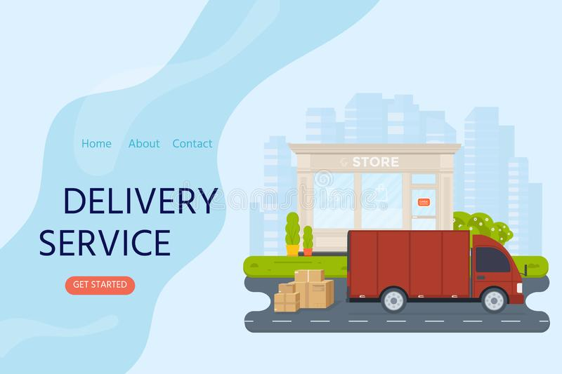 Delivery service concept for landing web page, mobile apps with stock illustration