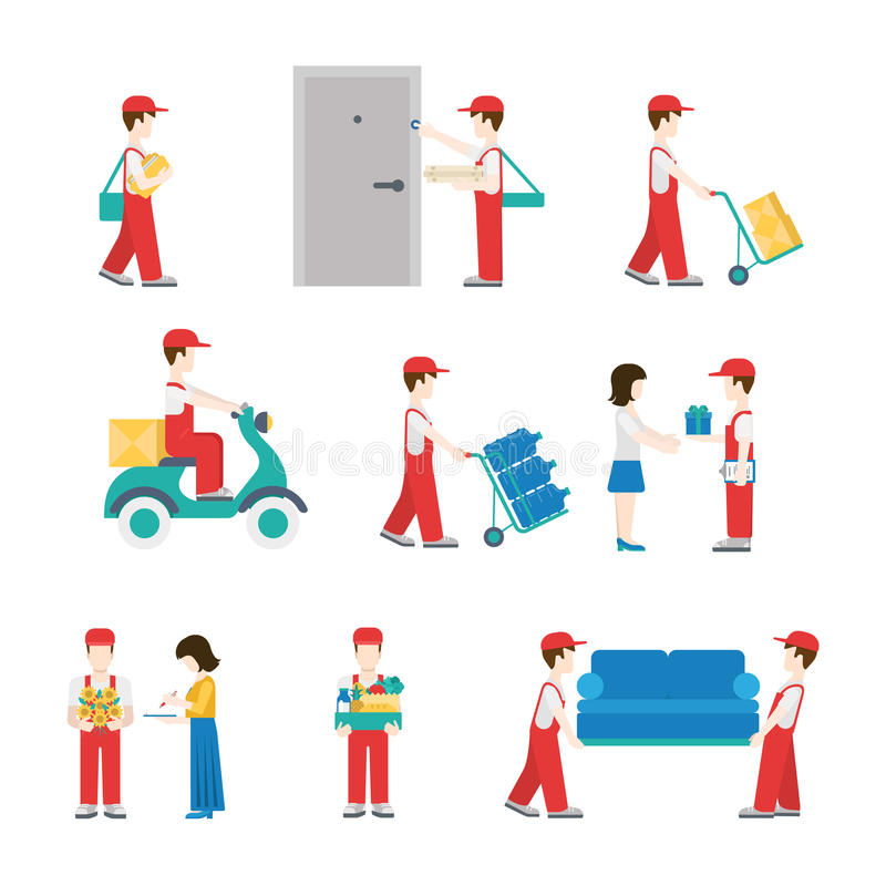 Delivery service deliverymen flat icon set. Delivery service workers in process with clients icon set flat modern web isometric infographic concept vector royalty free illustration