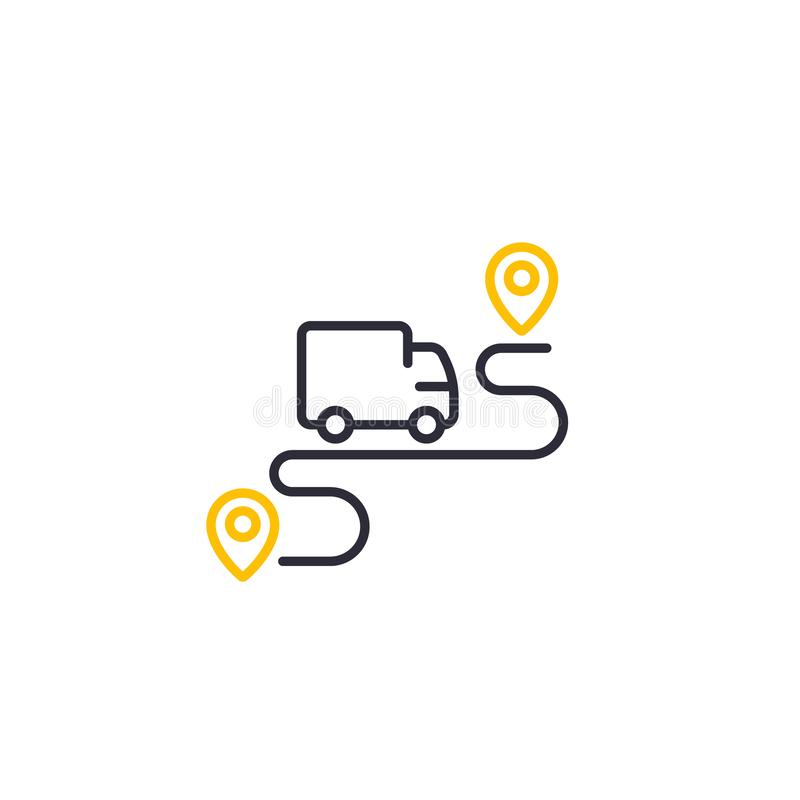 Delivery service icon, logistics concept, line art royalty free illustration