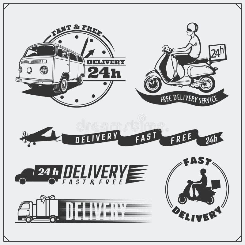 Delivery Service labels, emblems, badges and design elements. 24 Hours food delivery. royalty free illustration
