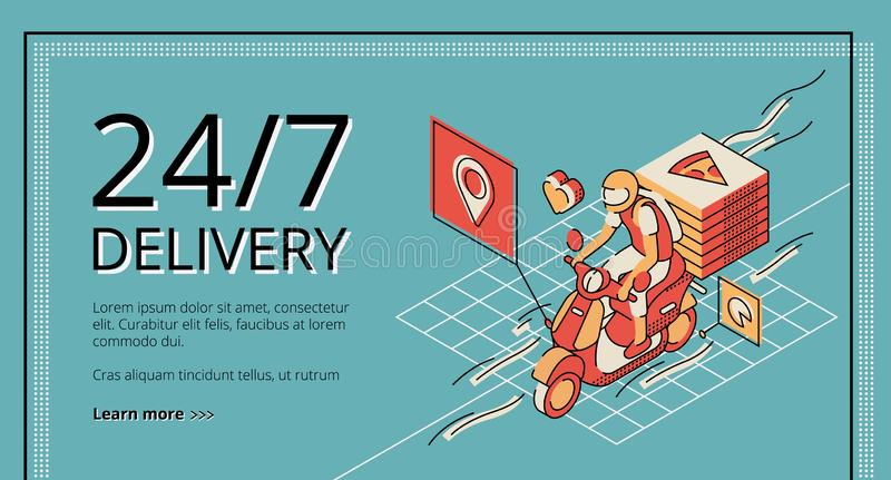 Delivery service 24 7 landing page, application vector illustration