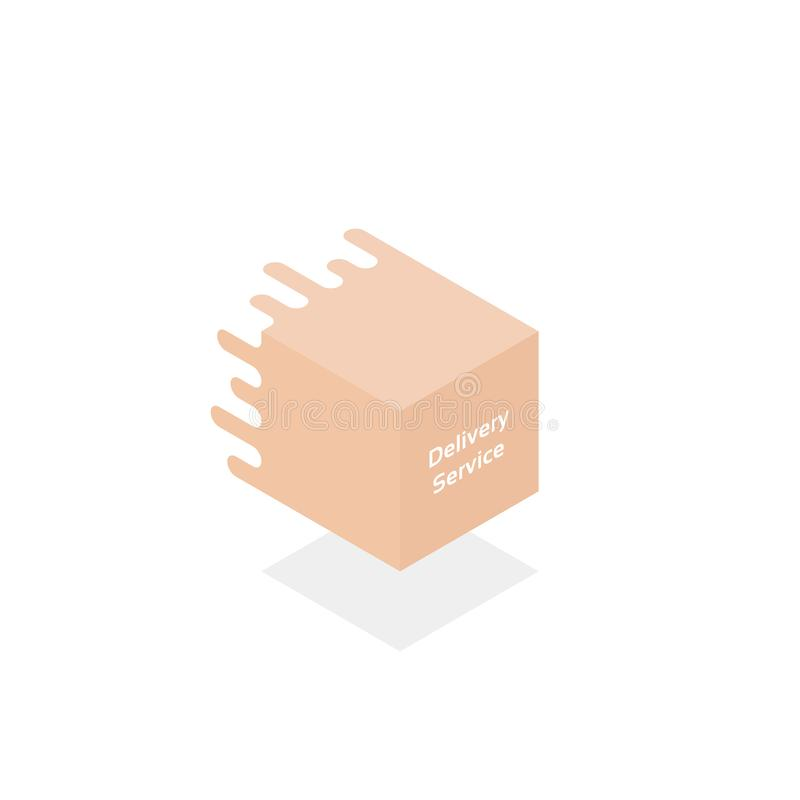 Delivery service logo like 3d gift box royalty free illustration