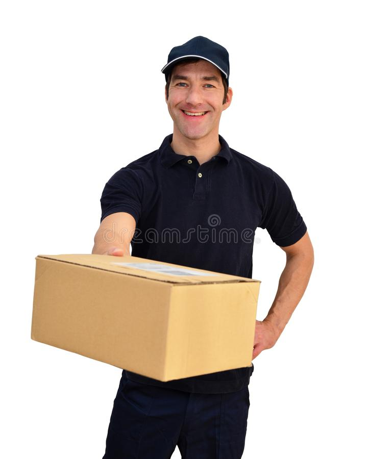 Delivery service - parcel carrier to deliver parcels and consign. Ments - isolated on white background royalty free stock photos