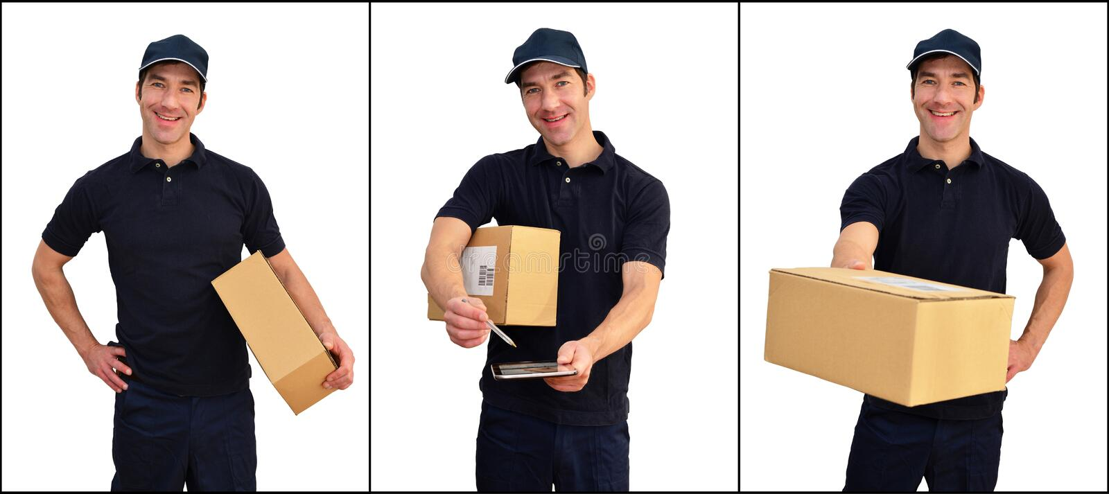 Delivery service - parcel carrier to deliver parcels and consign. Ments - isolated on white background stock photos