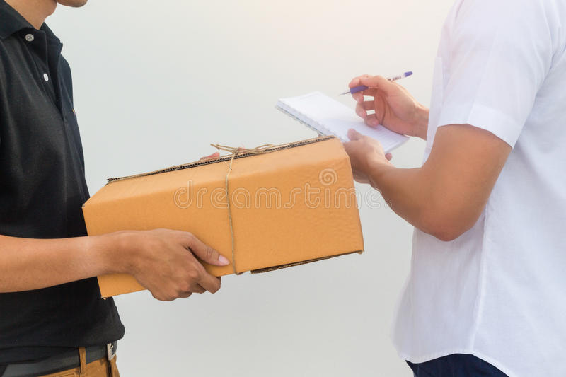 Delivery service sent to customer receiving package box. Delivery service sent to customer receiving package box royalty free stock photos