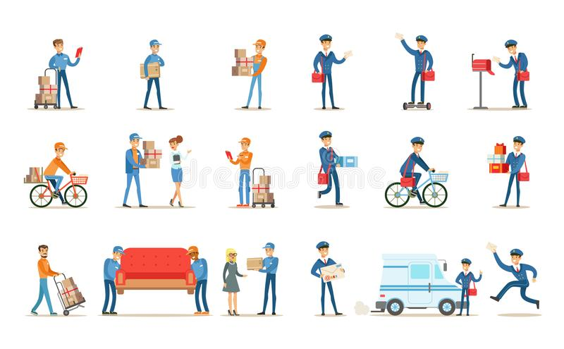 Delivery service set, couriers delivering packages, letters, furniture to clients vector Illustrations on a white stock illustration
