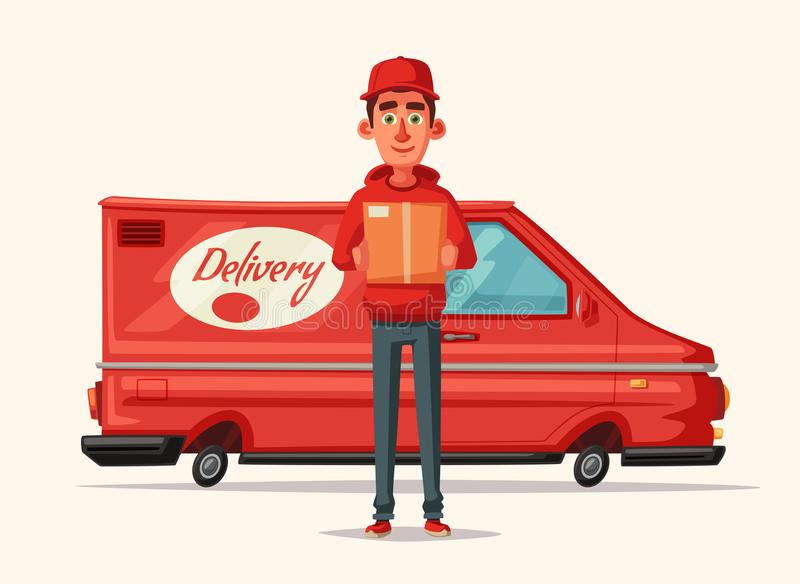 Delivery service by van. Car for parcel delivery. Cartoon vector illustration. Fast delivery truck or lorry. Funny character design. Cute deliveryman vector illustration
