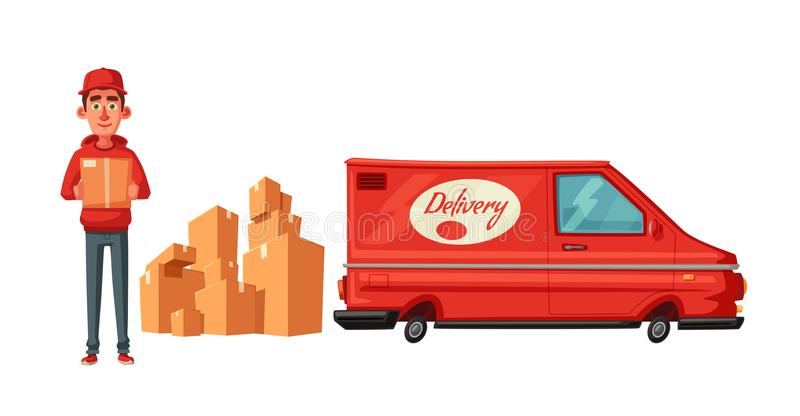 Delivery service by van. Car for parcel delivery. Cartoon vector illustration. Fast delivery truck or lorry. Funny character design. Cute deliveryman stock illustration