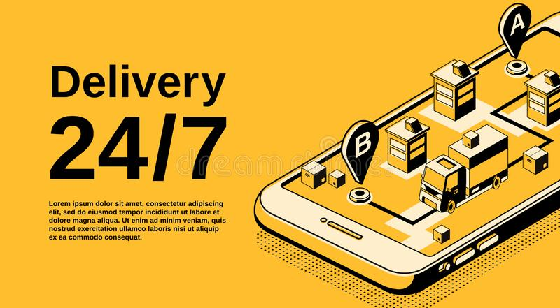 Delivery service vector isometric illustration royalty free illustration