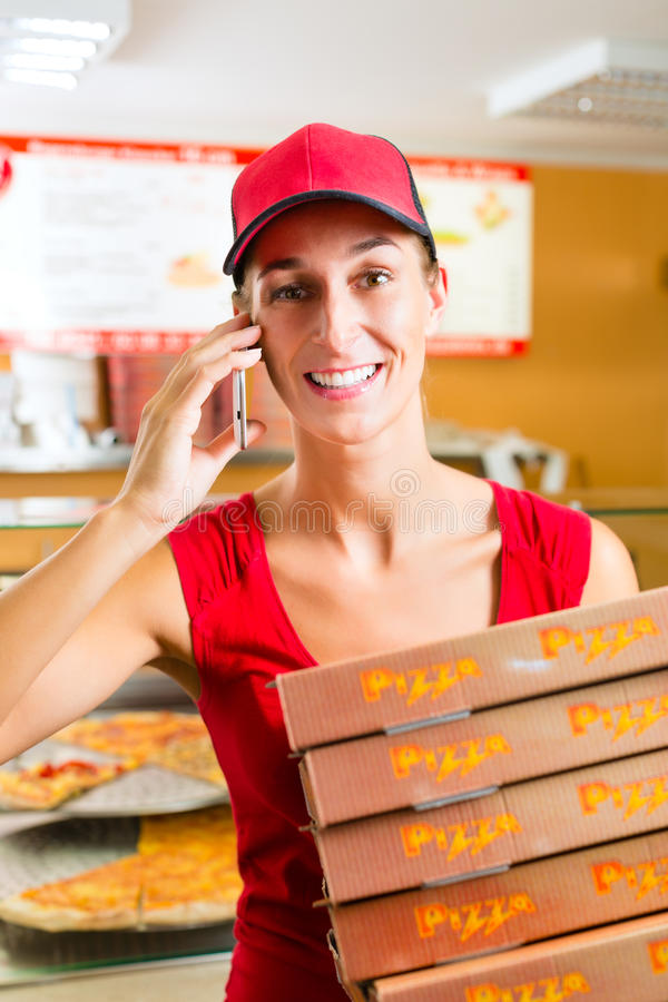 Delivery Service - Woman Holding Pizza Boxes Stock Photos