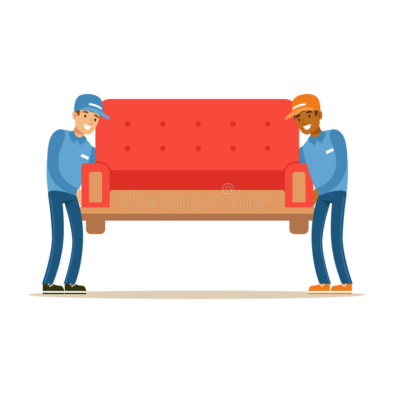 Delivery Service Worker Helping With Moving Carrying Sofa, Smiling Courier Delivering Packages Illustration. Vector Cartoon Male Character In Uniform Carrying stock illustration