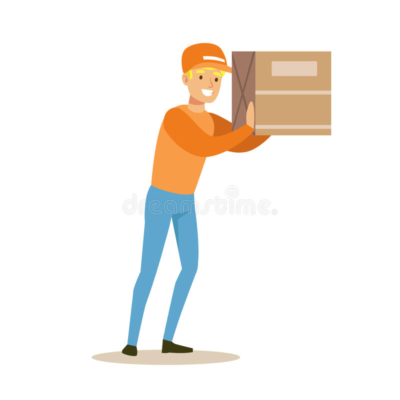 Delivery Service Worker Holding Big Box On The Shoulder, Smiling Courier Delivering Packages Illustration. Vector Cartoon Male Character In Uniform Carrying stock illustration