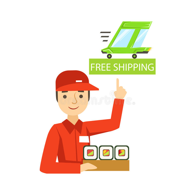Delivery Service Worker In Red Uniform Holding A Portion Of Sushi Rolls From Japanese Restaurant Ready For Shipment. Cartoon Vector Illustration From The royalty free illustration