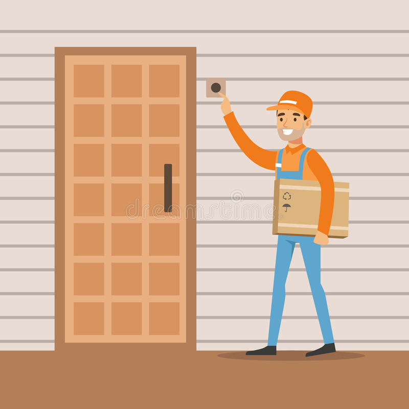 Delivery Service Worker Ringing The Appartment Doorbell, Smiling Courier Delivering Packages Illustration. Vector Cartoon Male Character In Uniform Carrying stock illustration