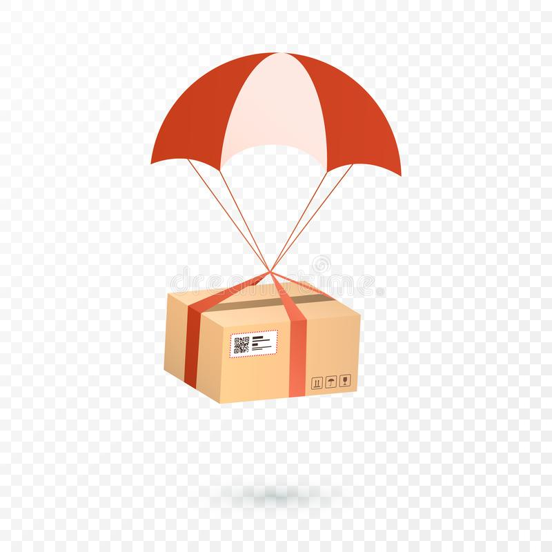 Delivery Services and E-Commerce. Package is flying on parachute. Flat vector illustration elements isolated on transparent backgr. Ound vector illustration