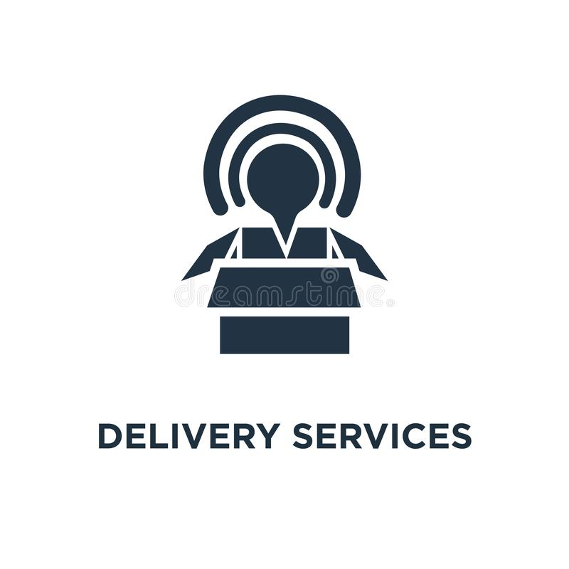 delivery services icon. opened box concept symbol design, logistics and transportation, relocation, cargo shipment, distribution royalty free illustration