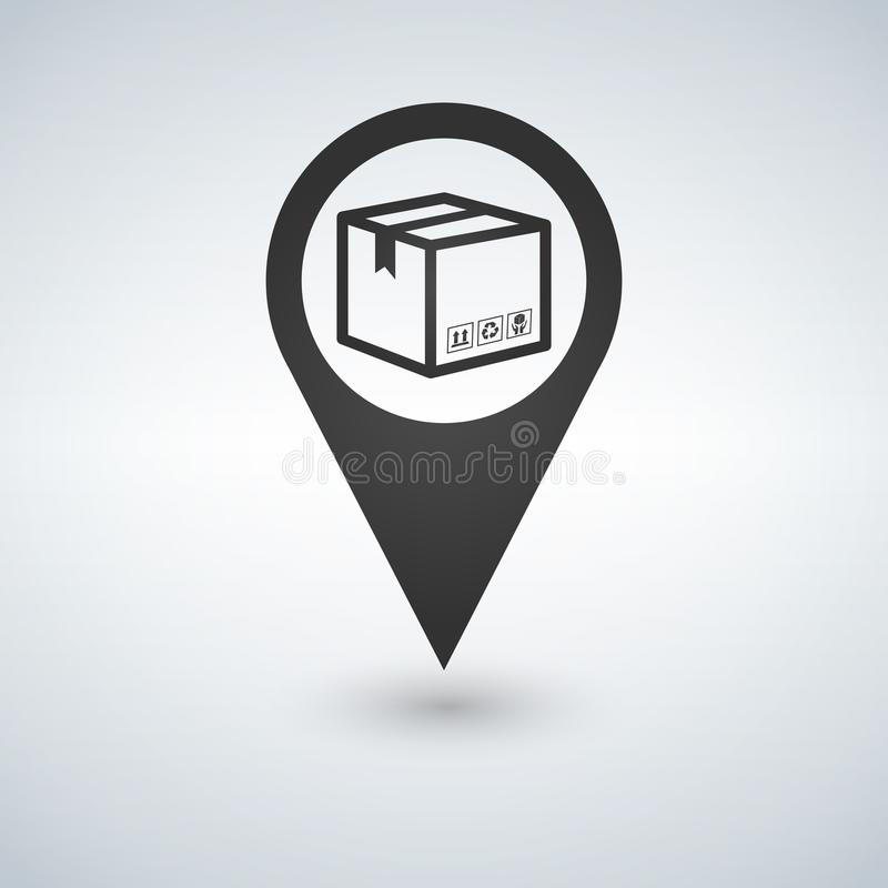 Delivery services, relocation, cargo shipment or distribution, logistics and transportation illustration concept. box with map poi vector illustration