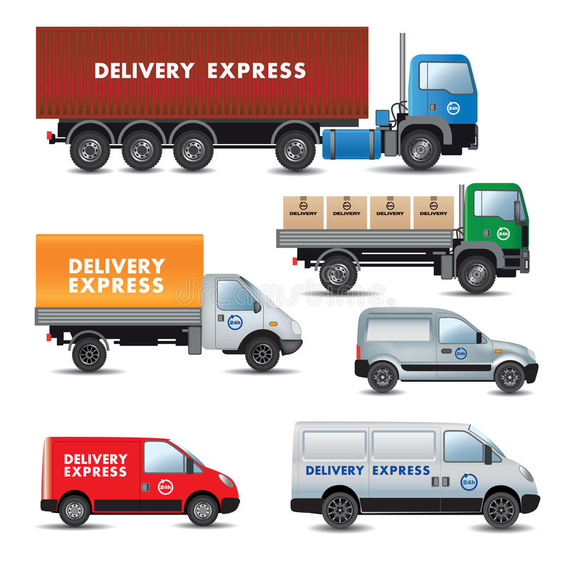 Delivery and shipment service cars royalty free illustration