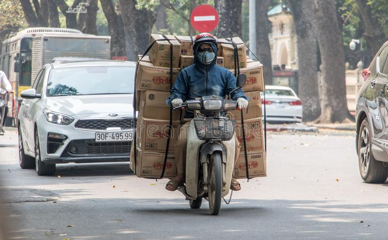 Delivery shipments in the streets of Hanoi. royalty free stock photography