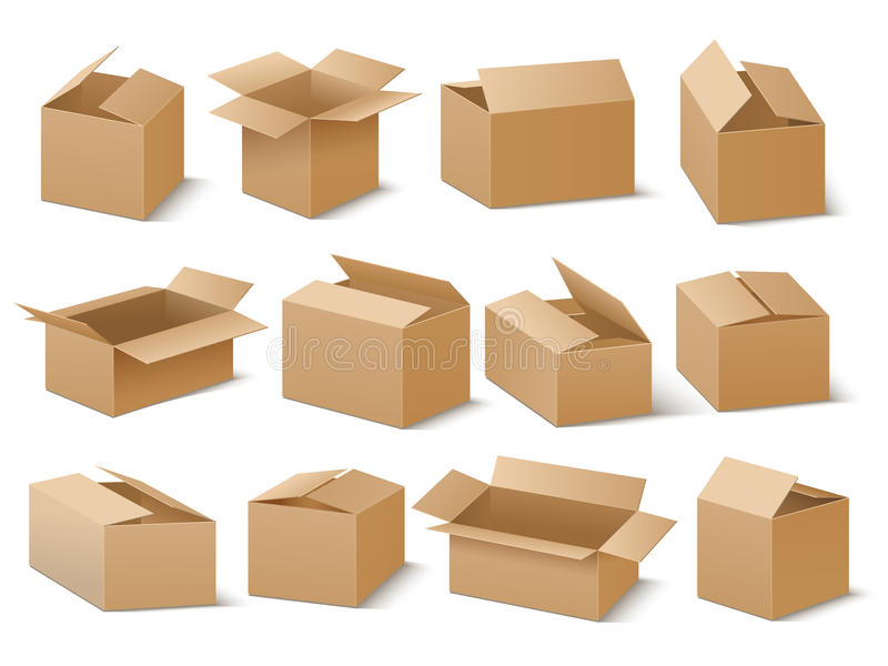 Delivery and shipping carton package. Brown cardboard boxes vector set royalty free illustration