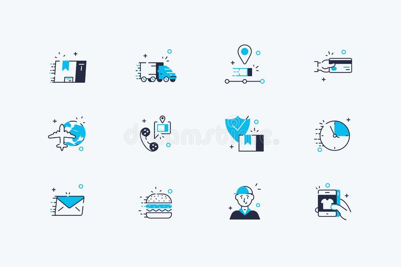 Delivery and shipping icons set. Vector illustration. Composition of line art symbols of checkout, transportation goods or food, route tracking, credit card royalty free illustration