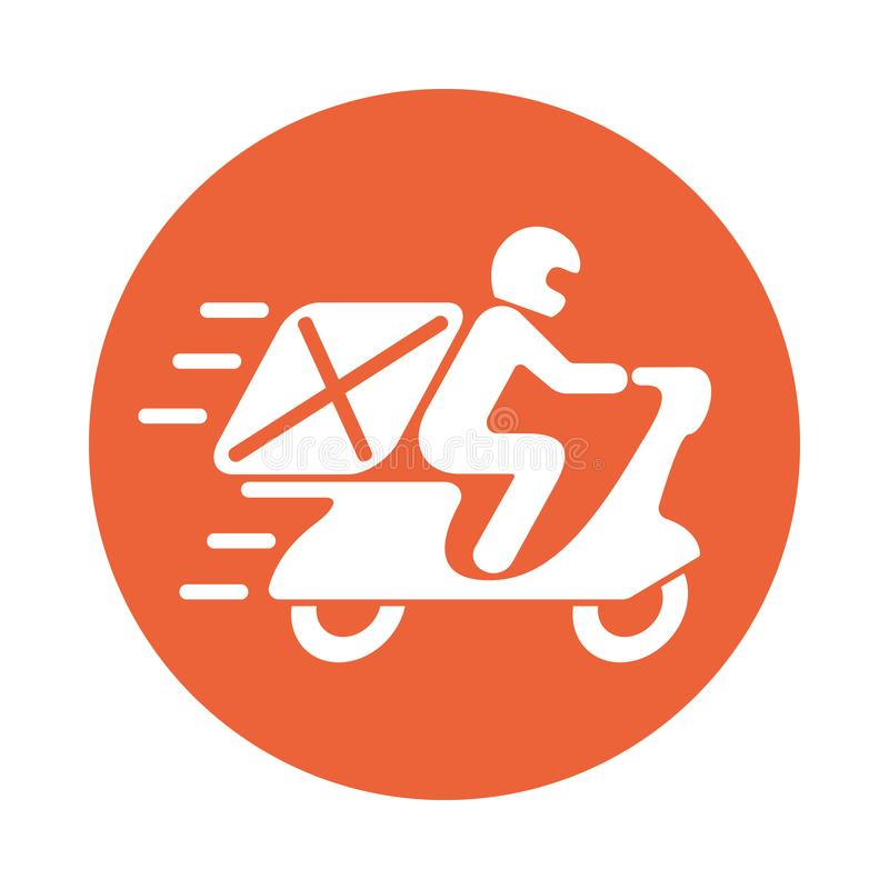 Delivery graphic symbol. Icon man on the motorcycle stock illustration