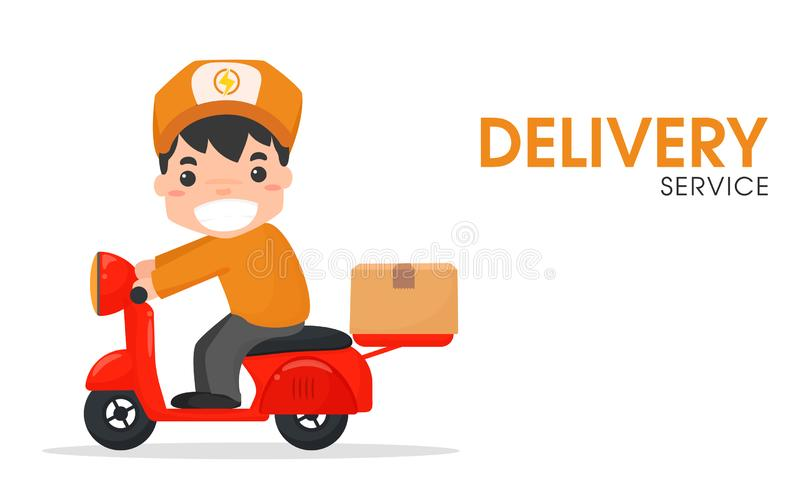 The delivery staff that rides the red motorbike and cargo box.  royalty free illustration