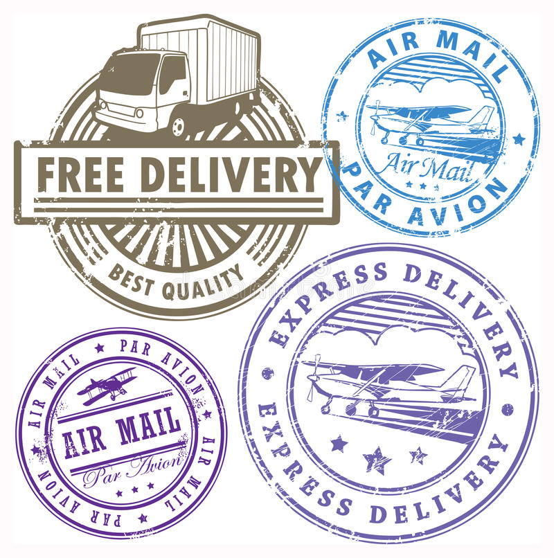 Download Delivery stamps set stock vector. Image of courier, airmail - 25551270