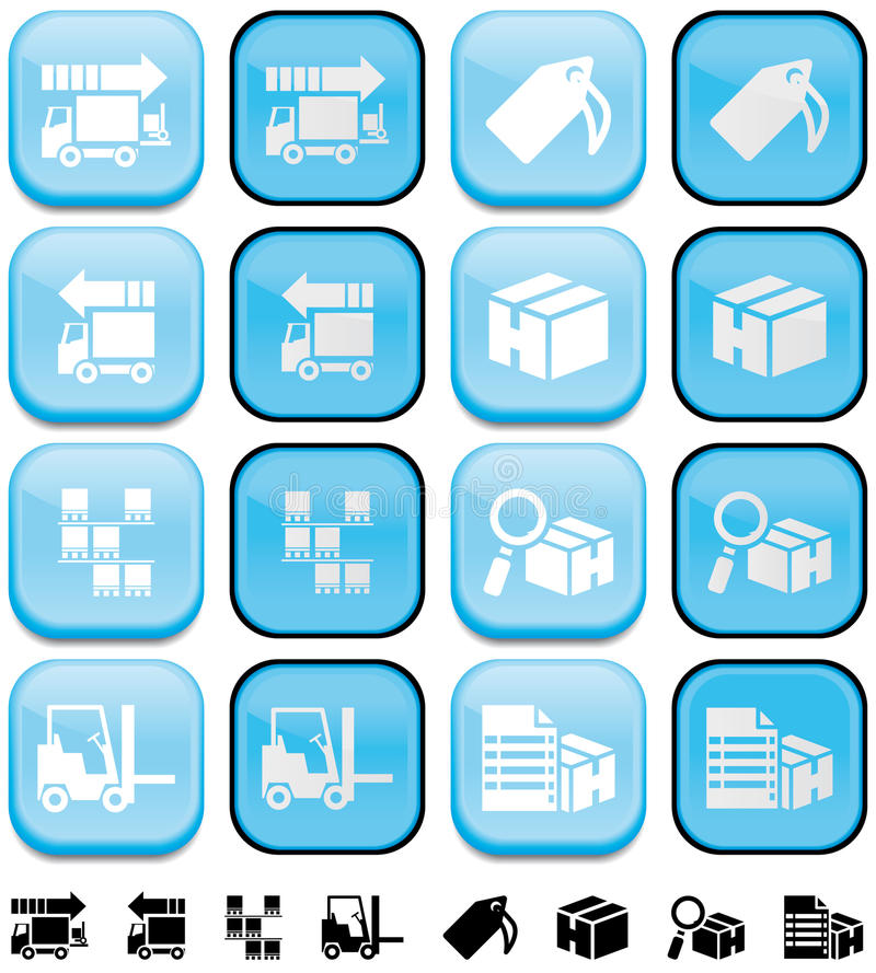 Download Delivery And Storage Buttons With Pushed Up And Do Stock Illustration - Image: 14161448