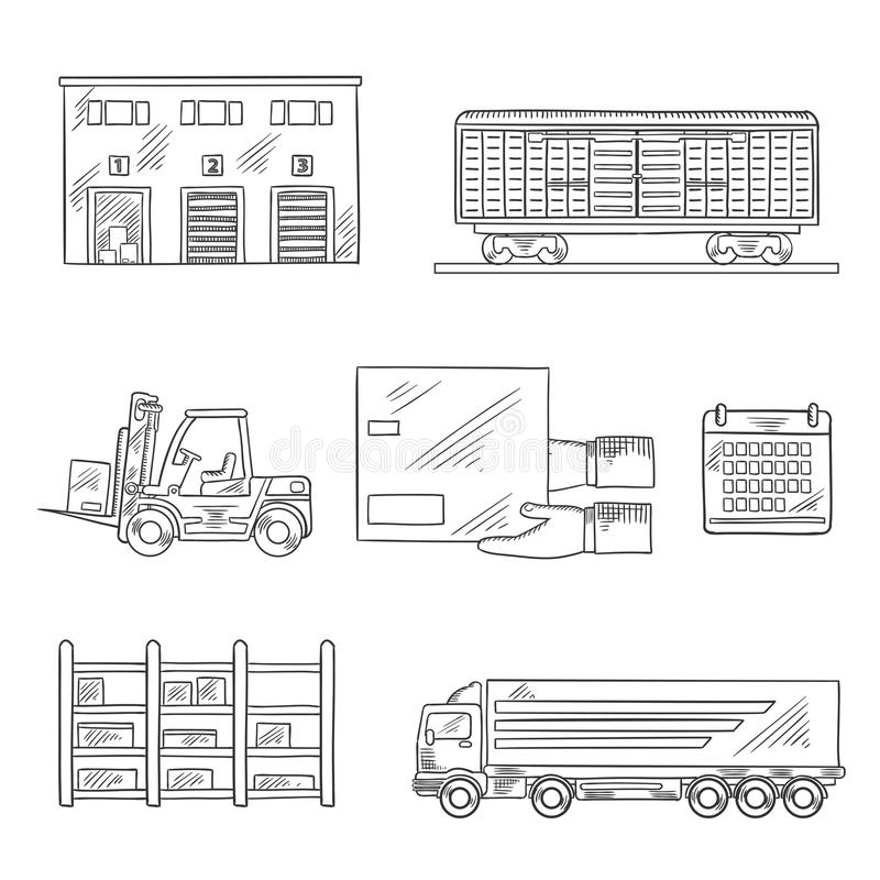 Delivery and storage service sketch icons. Delivery and storage service icons in sketch style with warehouse building, freight wagon, cargo truck, forklift truck stock illustration