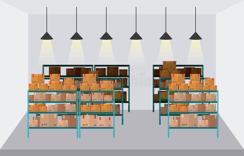 Delivery and storage warehouse design royalty free illustration