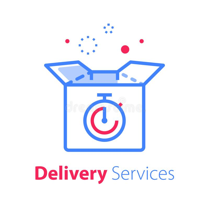 Delivery Time Fast Shipment Stopwatch And Box Waiting Period Timely Distribution Stock Vector Illustration Of Delivery Package 163412058
