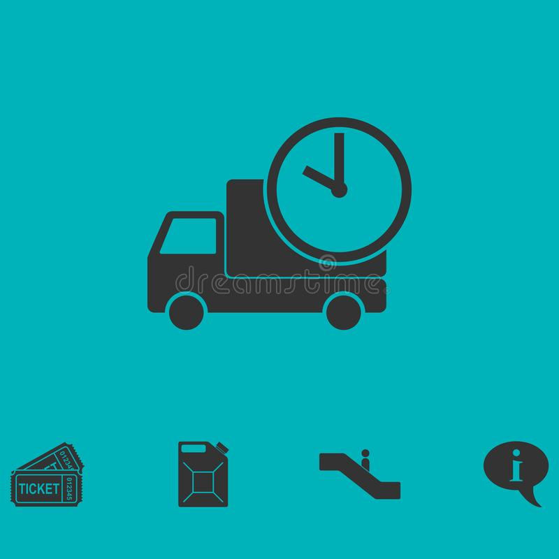Delivery time icon flat royalty free illustration