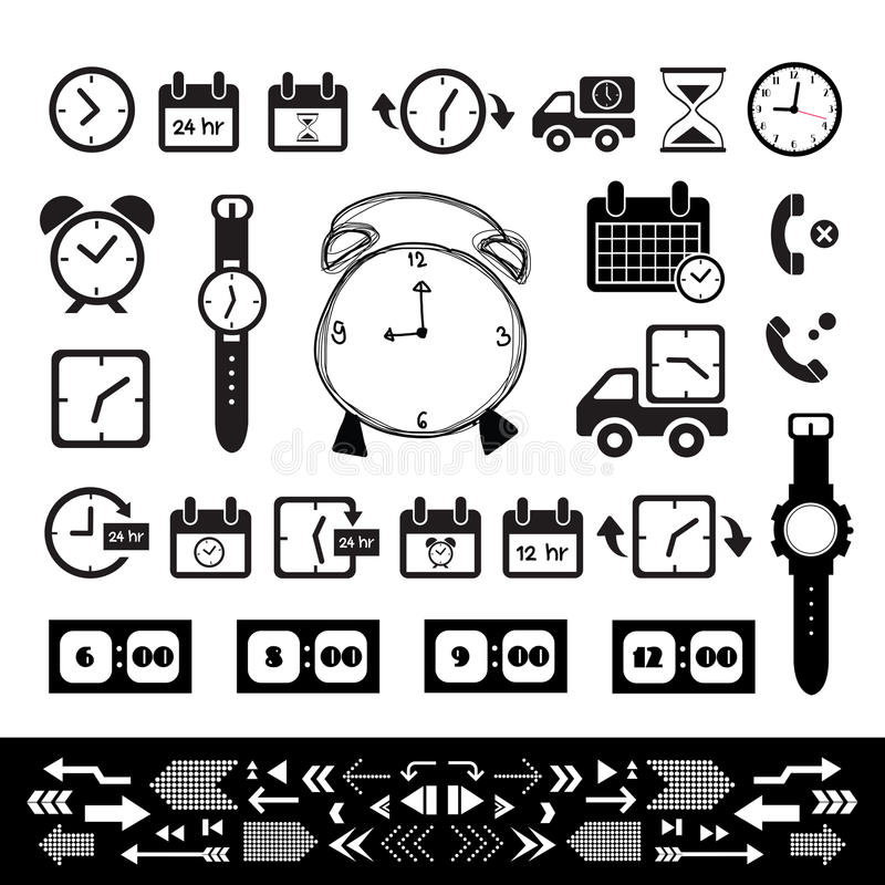Delivery and time icon set royalty free illustration