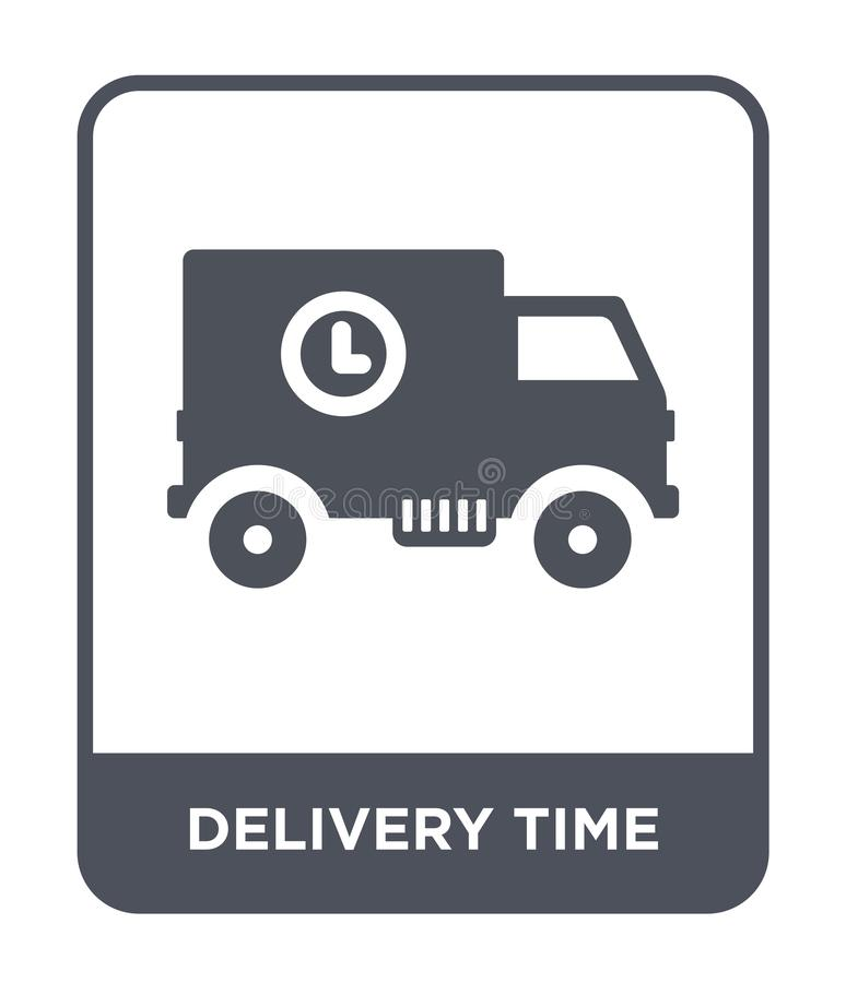 delivery time icon in trendy design style. delivery time icon isolated on white background. delivery time vector icon simple and stock illustration