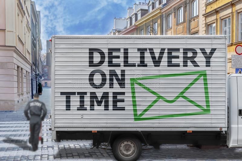 Delivery on time truck in the city center royalty free stock photos