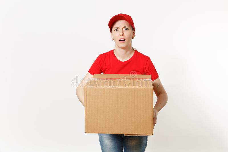 Delivery tired sad woman in red uniform isolated on white background. Female in cap, t-shirt, jeans working as courier royalty free stock image