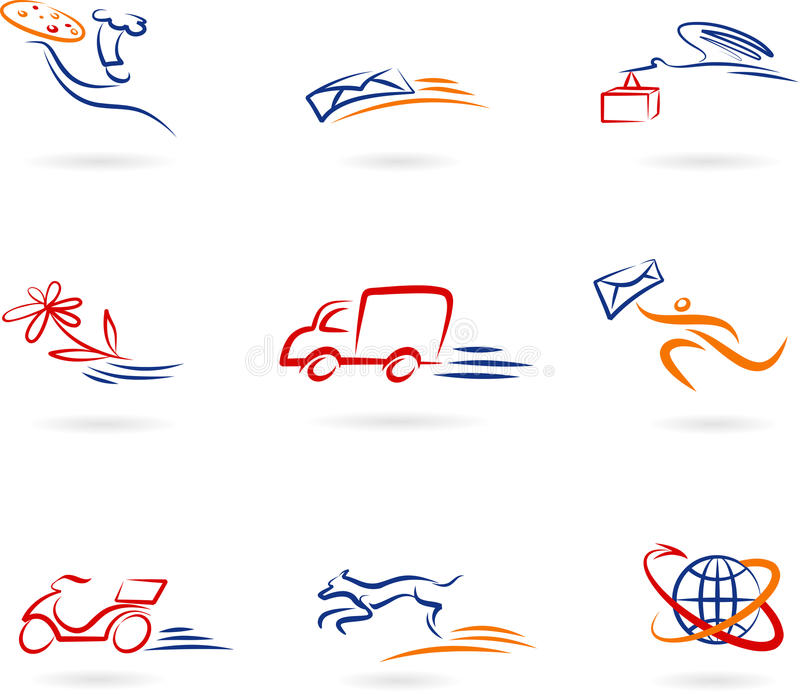 Delivery and transport concept icon set. Delivery and transport concept icons set with delivery and transportations means in motion vector illustration