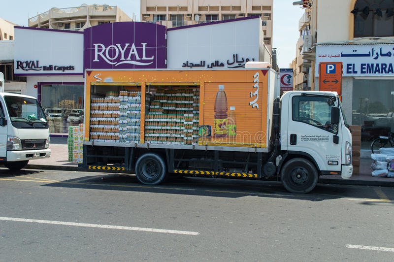 Delivery truck with beverage royalty free stock photography