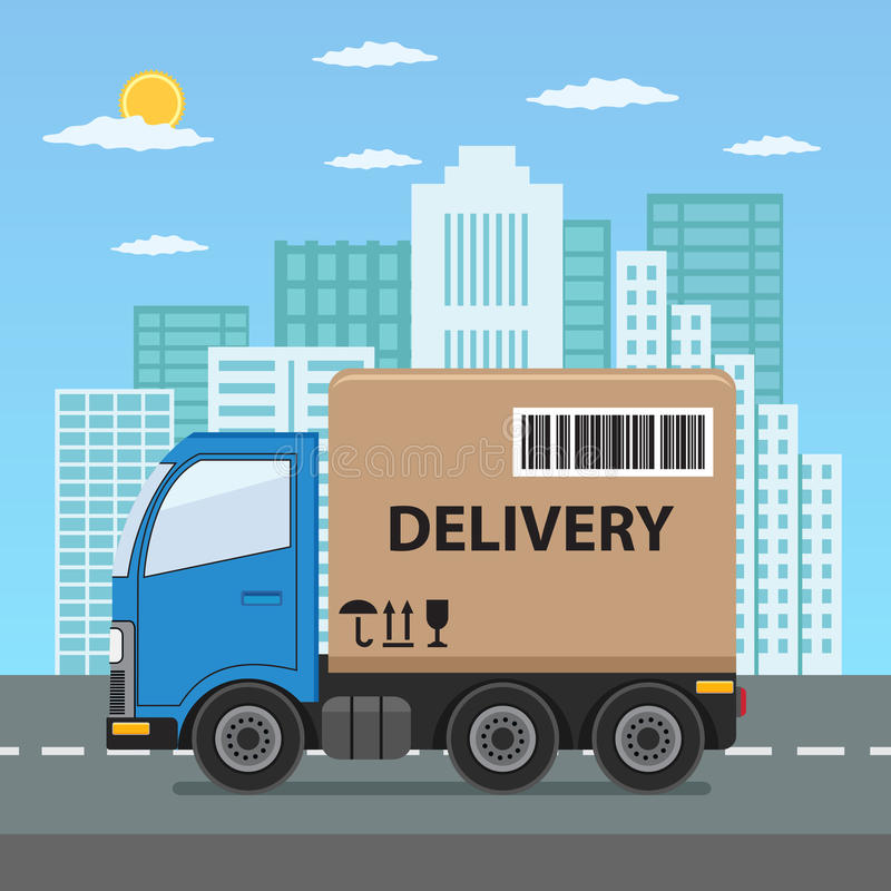 Delivery truck with cardboard box. royalty free stock photography