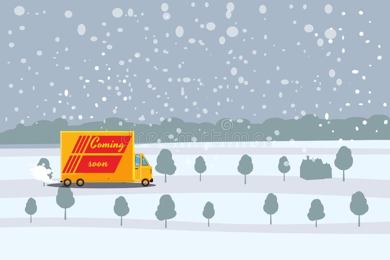 Delivery, truck carrying a cargo to the recipient, winter landscape background, vector, banner, illustration, cartoon vector illustration