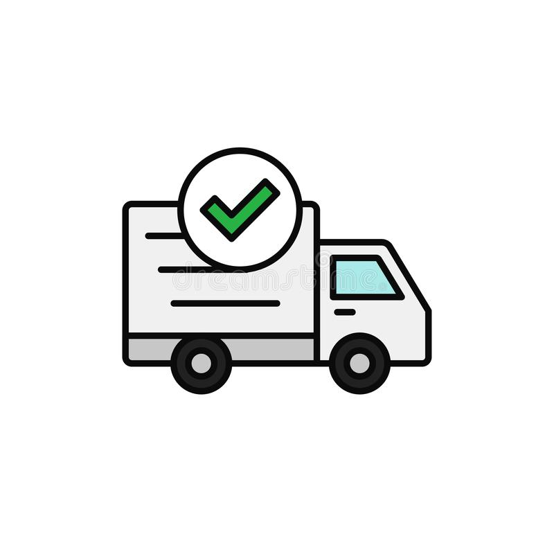 Delivery truck check icon. done checking, success shipment item illustration. simple outline vector symbol design. vector illustration