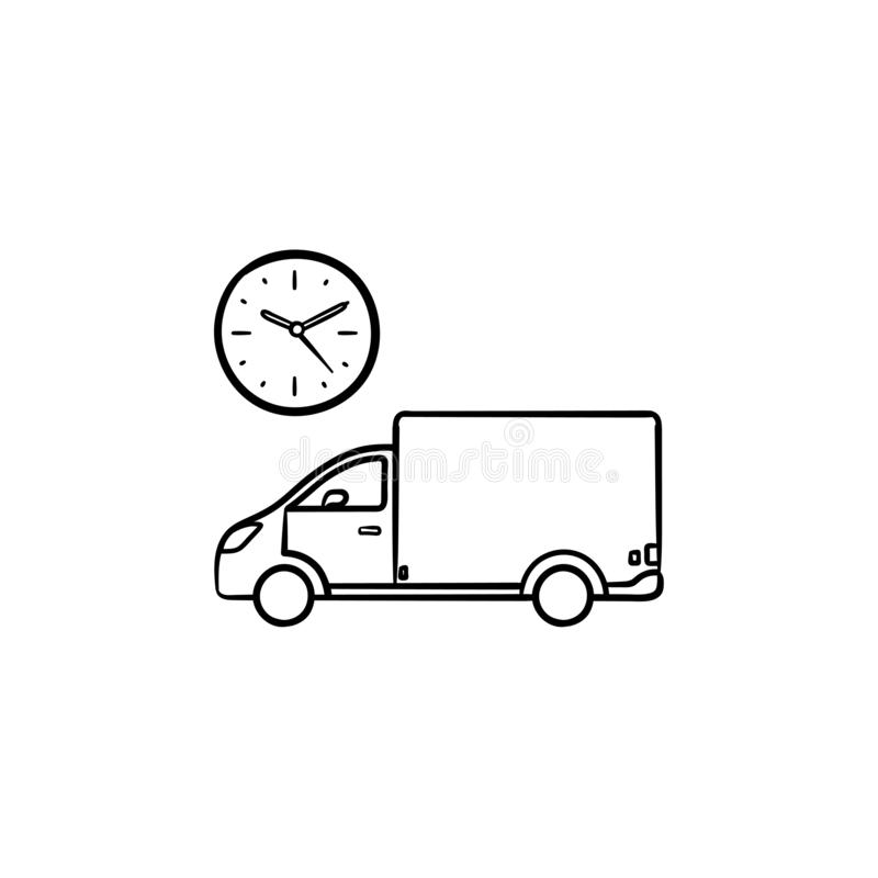 Free Delivery Truck Hand Drawn Outline Doodle Icon  Stock