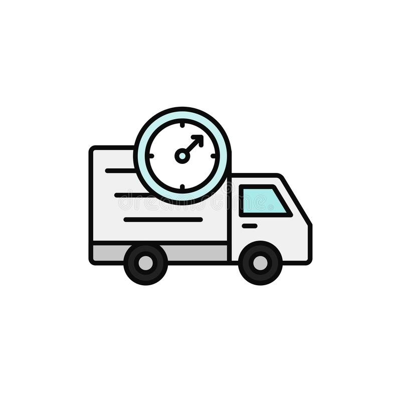 Delivery truck clock icon. estimated shipment time illustration. simple outline vector symbol design. Eps 10 graphic royalty free illustration