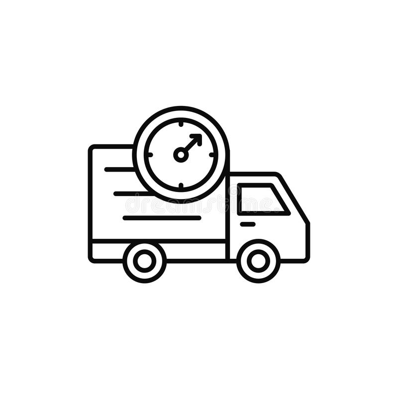 Delivery truck clock icon. estimated shipment time illustration. simple outline vector symbol design. Eps 10 royalty free illustration