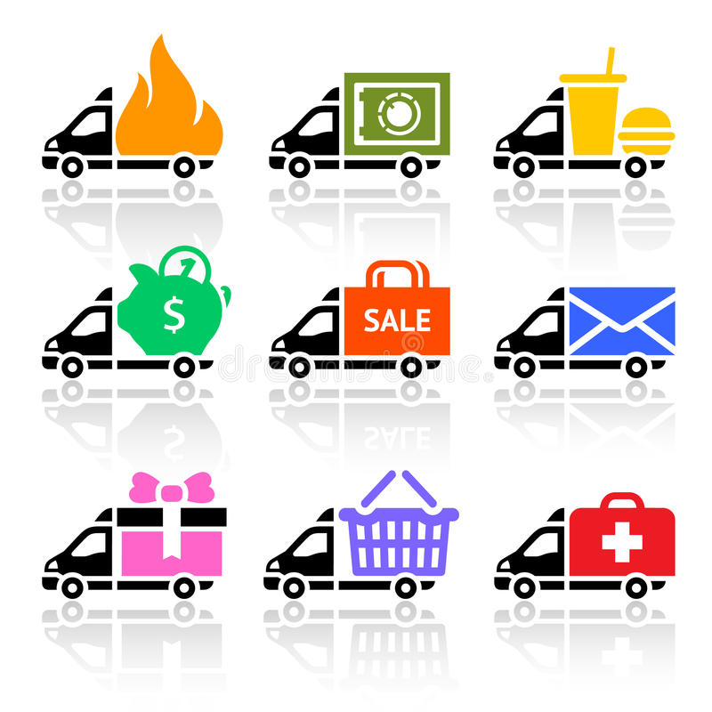 Download Delivery Truck Colored Icons Stock Image - Image: 30211153