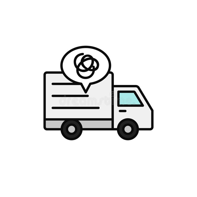 Delivery truck complicated line icon. shipment car misguided and gets lost illustration. simple outline vector symbol design. stock illustration