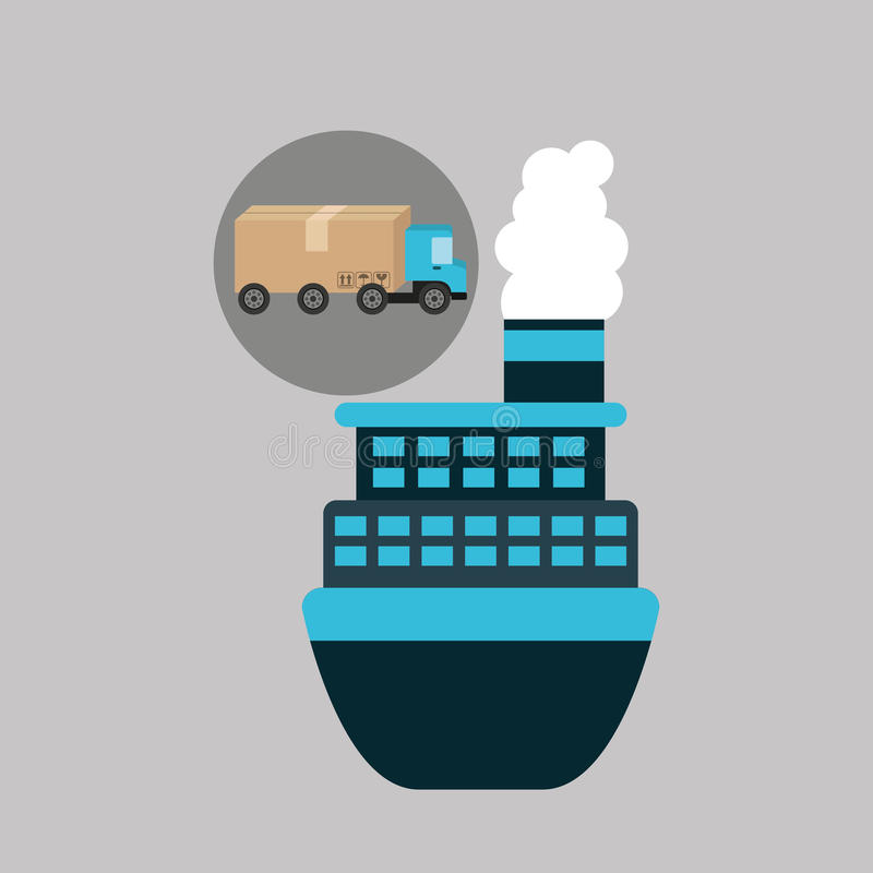 Delivery truck concept cargo marine transport stock illustration
